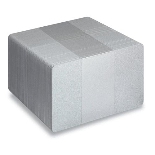 Blank Metallic Silver Plastic Cards