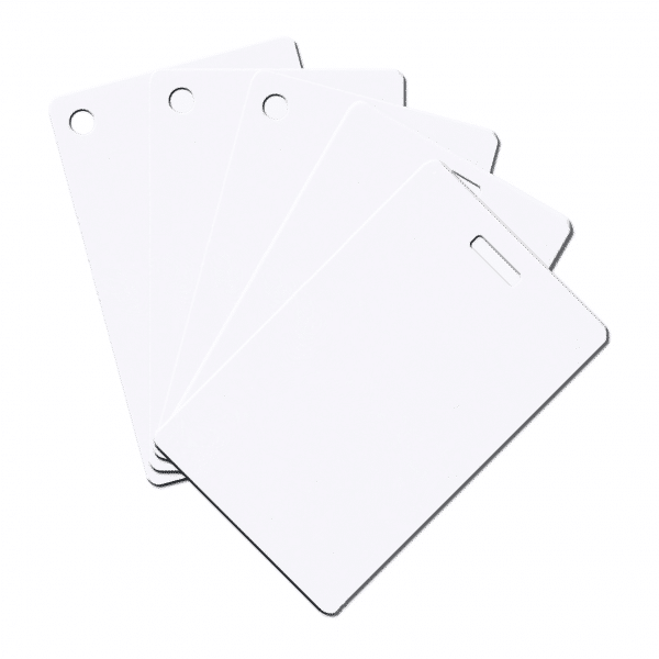 Blank White Plastic Cards With Slot Or Hole Punch