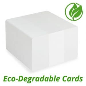 New to the range are our environmentally friendly degradable blank white plastic cards. The cards use the latest techniques to treat PVC resin to make them completely degradable.