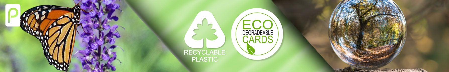 Contactless plastic cards from Premier Plastic cards recyclable and degradable