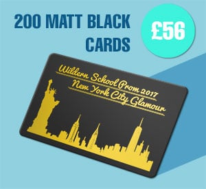 200 Matt black plastic cards for £56